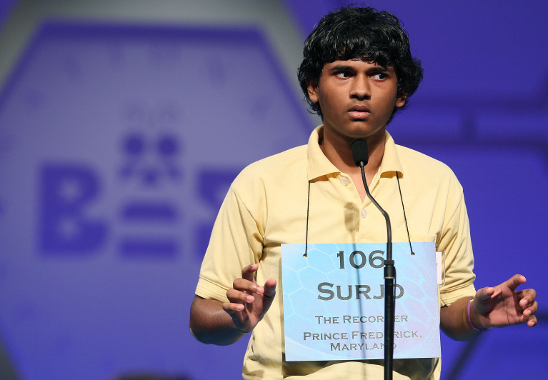 NATIONAL HARBOR, MD - JUNE 02: Surjo Bandyopadhyay of Prince Frederick, Maryland spells a word correctly while participating in the semi-finals of the 2011 Scripps National Spelling Bee competition June 2, 2011 in National Harbor, Maryland. Spellers participated in the annual competition to win the national titile.  (Photo by Mark Wilson/Getty Images)